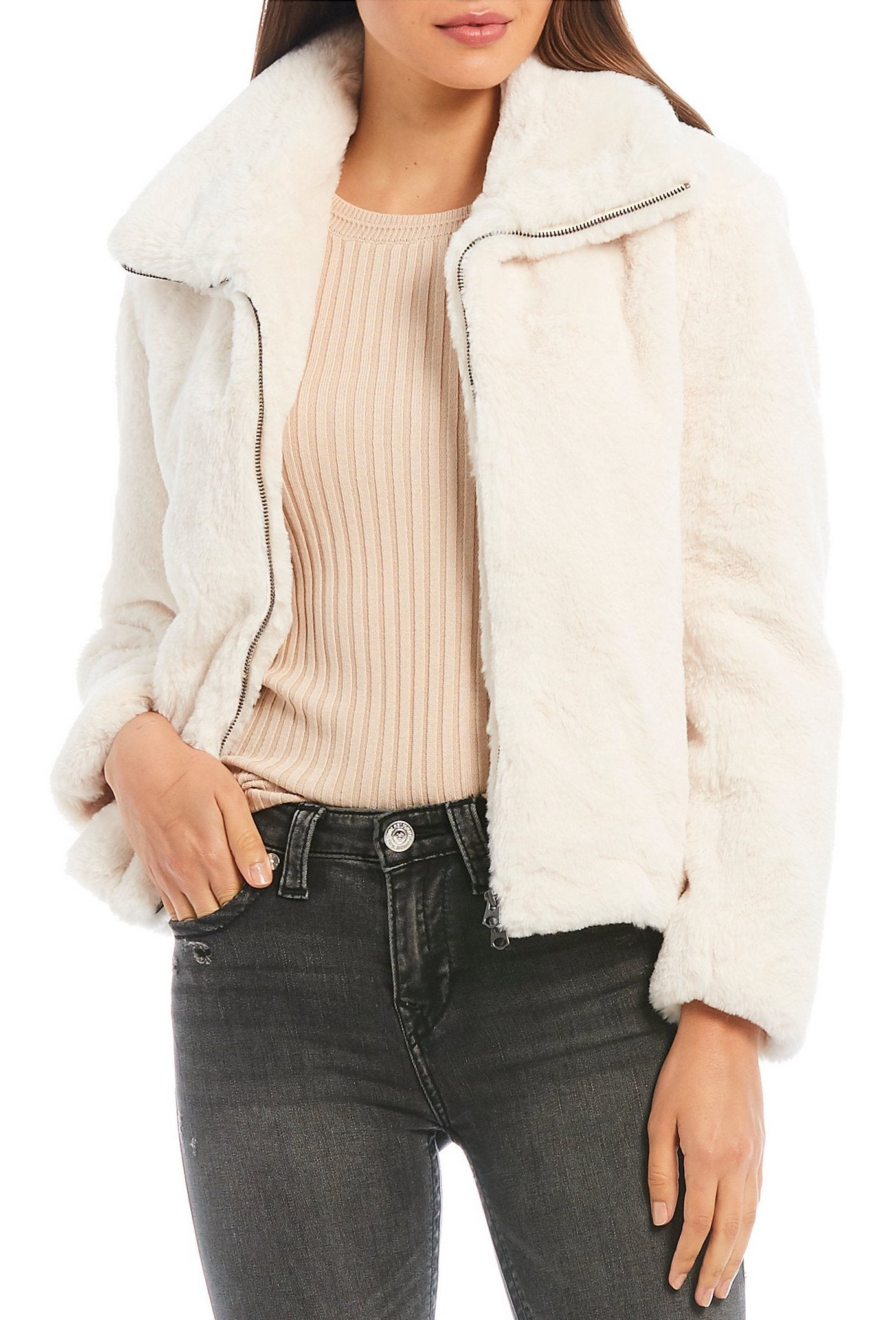French Connection Buona Faux Fur Zip Front Coat