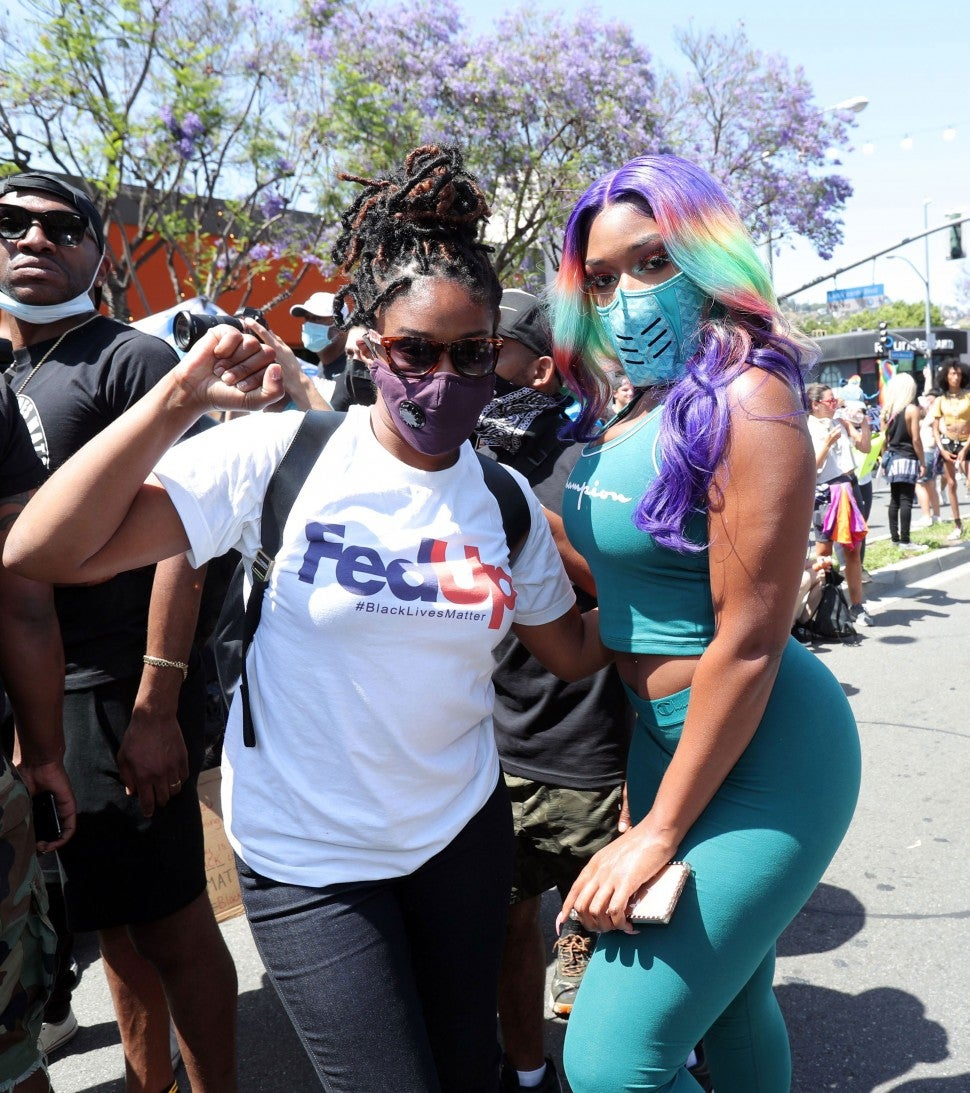 Tiffany Haddish y Megan Thee Stallion en protestas