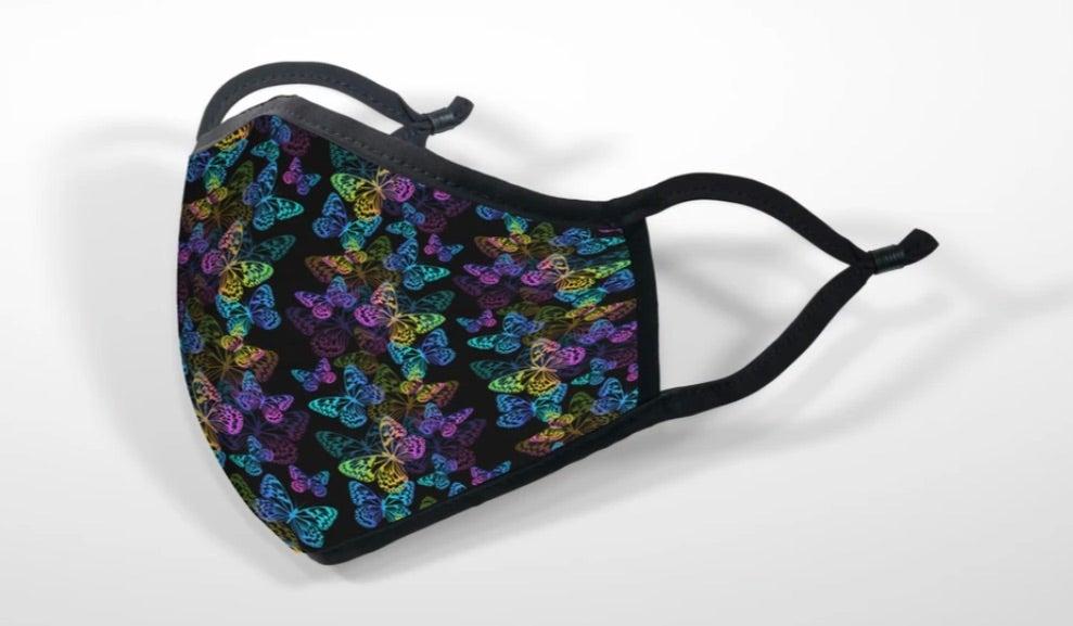 Mascarilla de tela - Máscara impresa mariposas iridiscentes