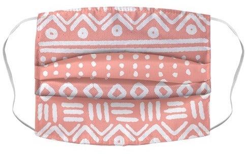 Máscara de patrón geométrico abstracto rosa coral Boho