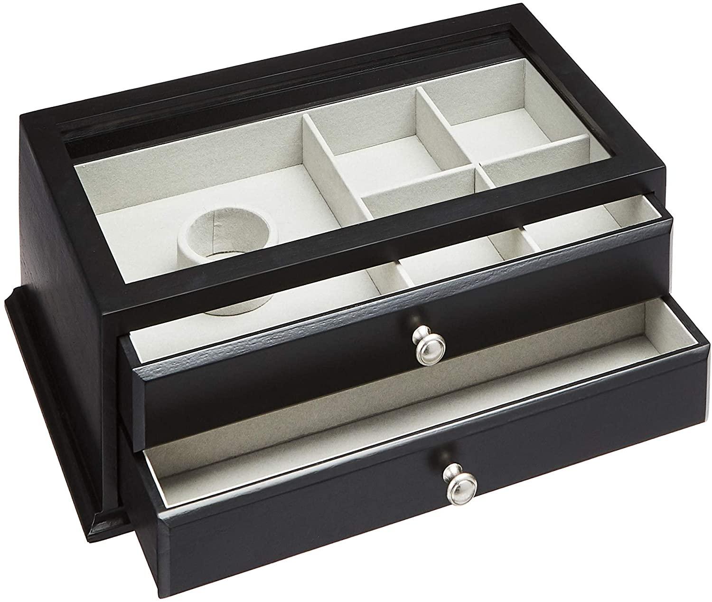 AmazonBasics - Caja de madera para joyería / reloj con tapa de cristal, 2 cajones, color negro