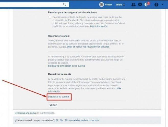 desactivar mi cuenta facebook